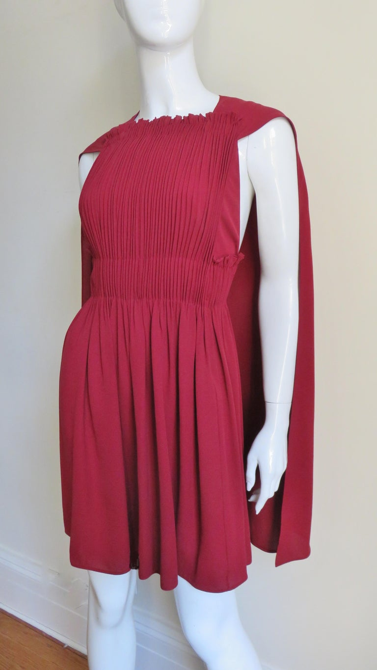 Women's Valentino Silk Dress with Cape For Sale
