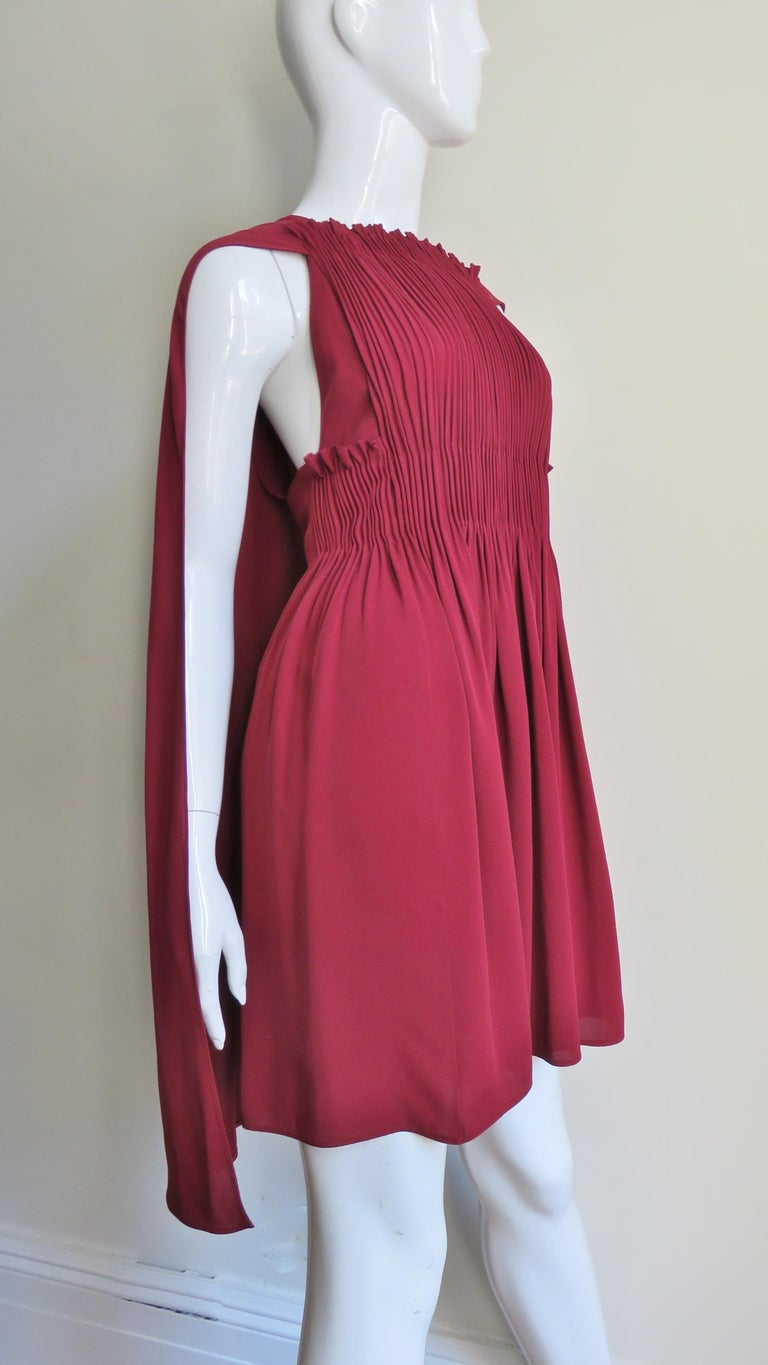 Valentino Silk Dress with Cape For Sale 1