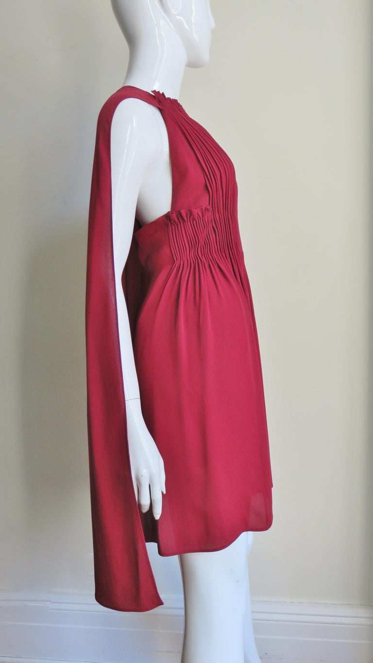 Valentino Silk Dress with Cape For Sale 2