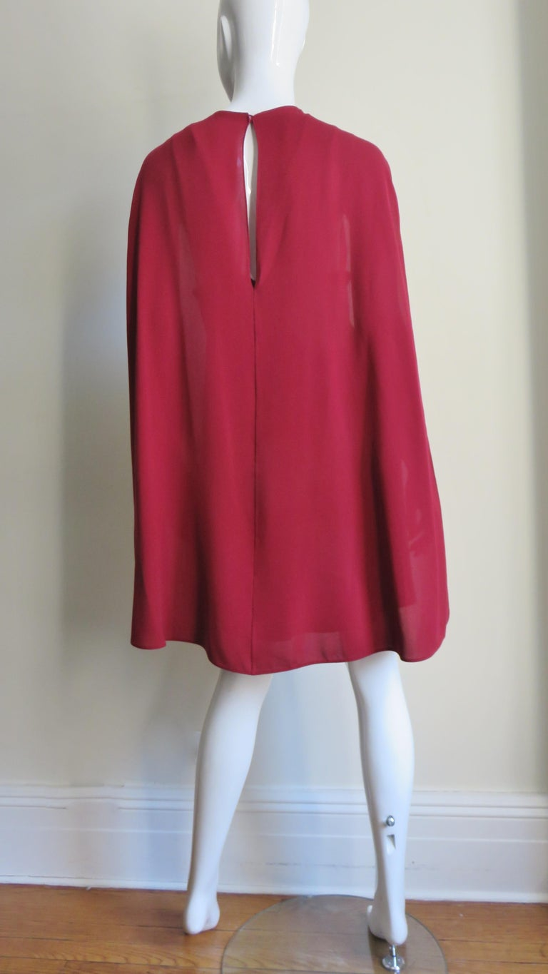 Valentino Silk Dress with Cape For Sale 5