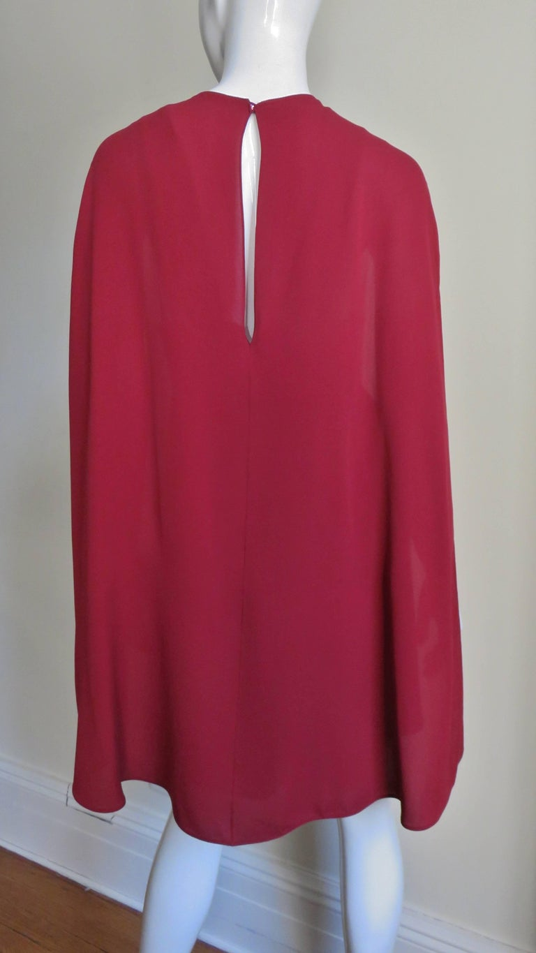Valentino Silk Dress with Cape For Sale 6