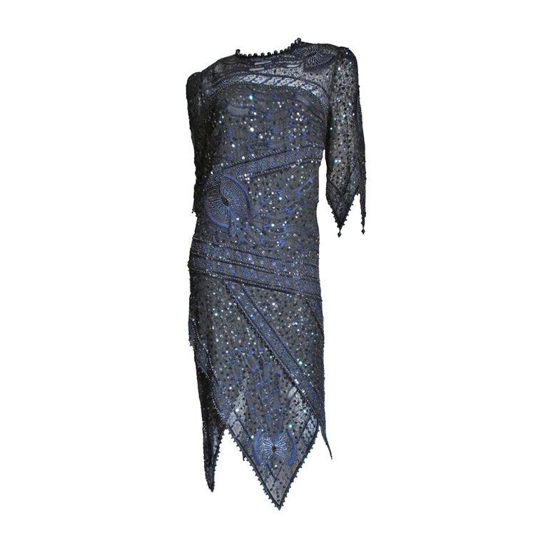 1970s Zandra Rhodes Beaded Silk Dress  For Sale