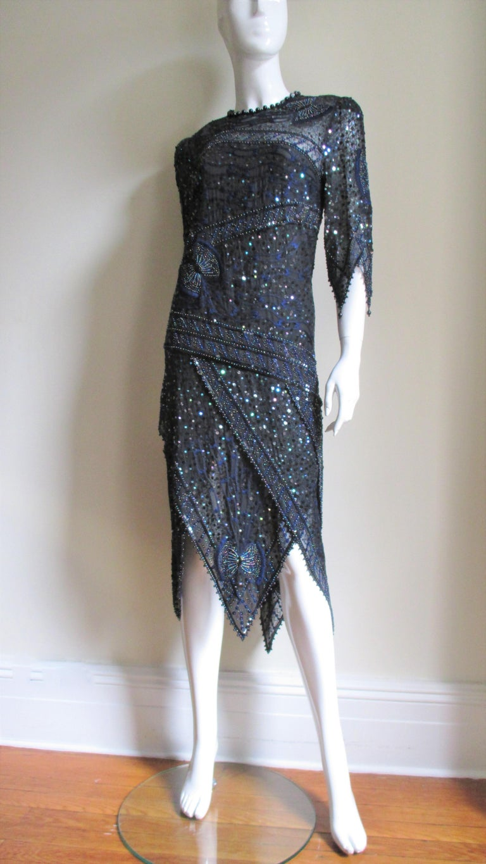 Black 1970s Zandra Rhodes Beaded Silk Dress  For Sale
