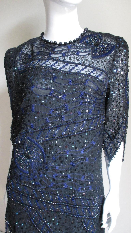 Women's 1970s Zandra Rhodes Beaded Silk Dress  For Sale