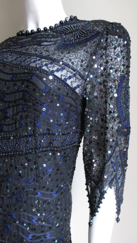 1970s Zandra Rhodes Beaded Silk Dress  For Sale 2