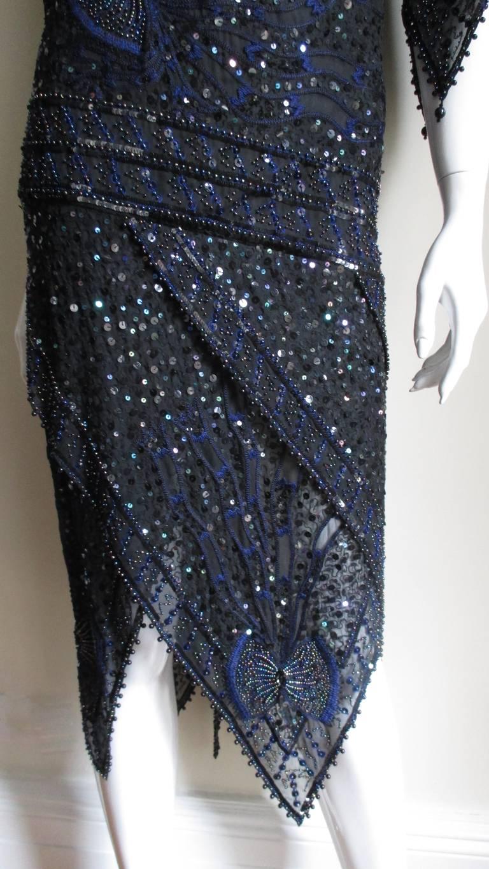 1970s Zandra Rhodes Beaded Silk Dress  For Sale 3