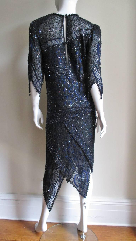 1970s Zandra Rhodes Beaded Silk Dress  For Sale 13
