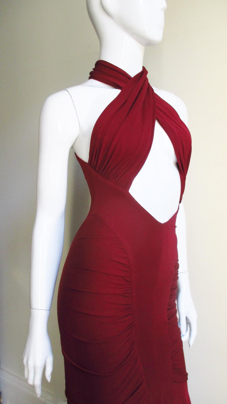 Herve Leger for Guy Laroche Bodycon Cut out Gown For Sale 5