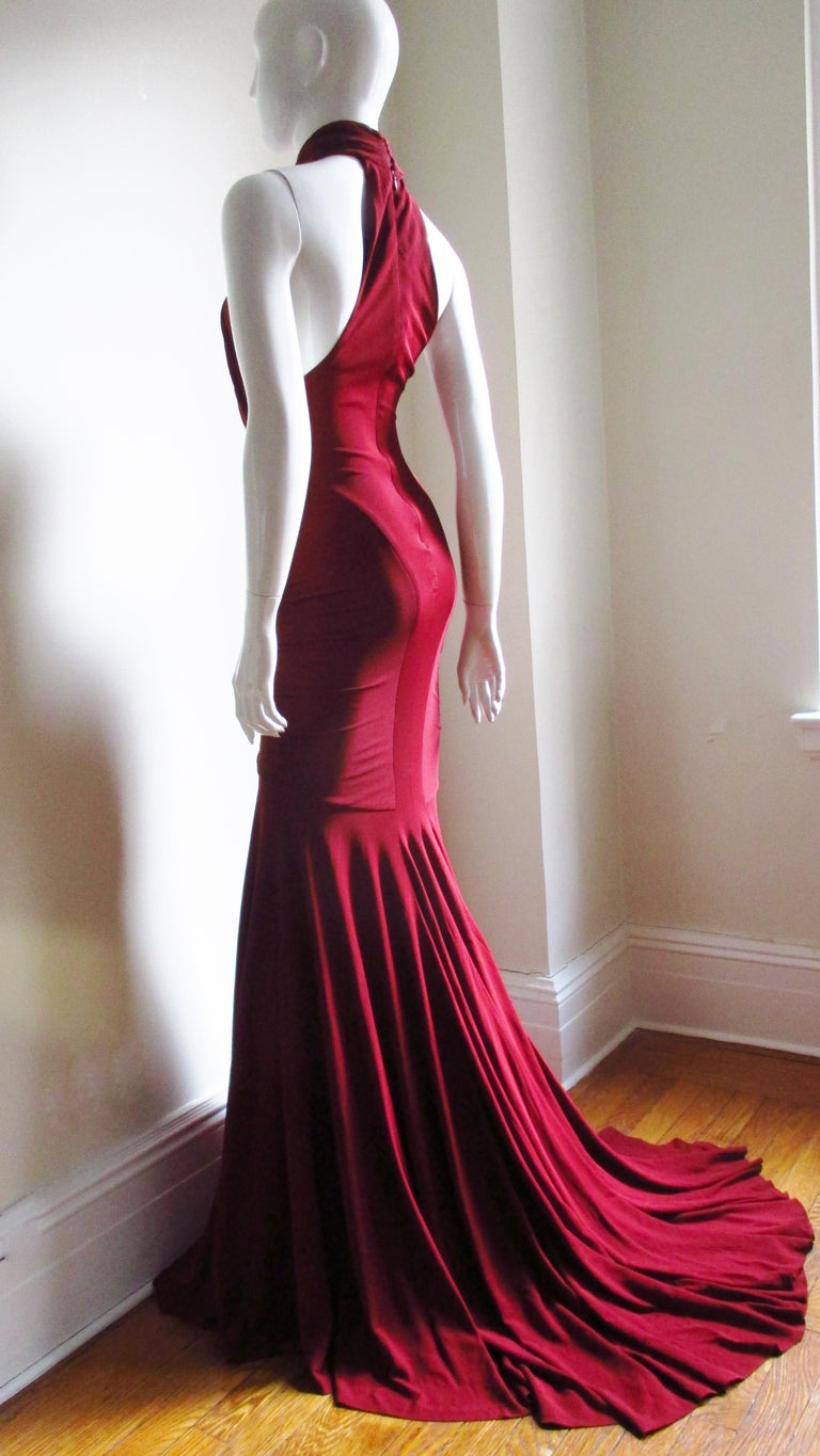 Herve Leger for Guy Laroche Bodycon Cut out Gown For Sale 6