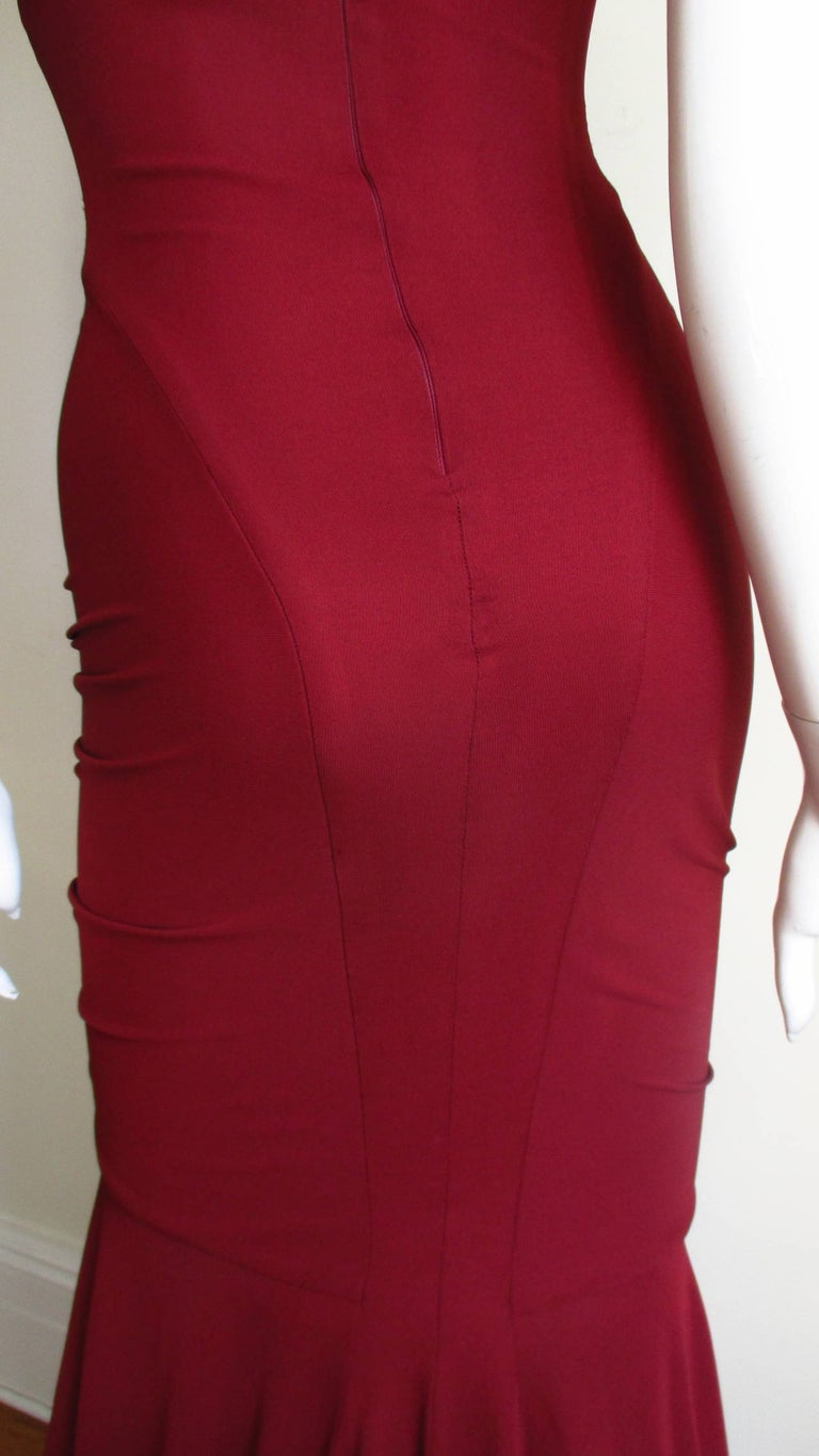 Herve Leger for Guy Laroche Bodycon Cut out Gown For Sale 9