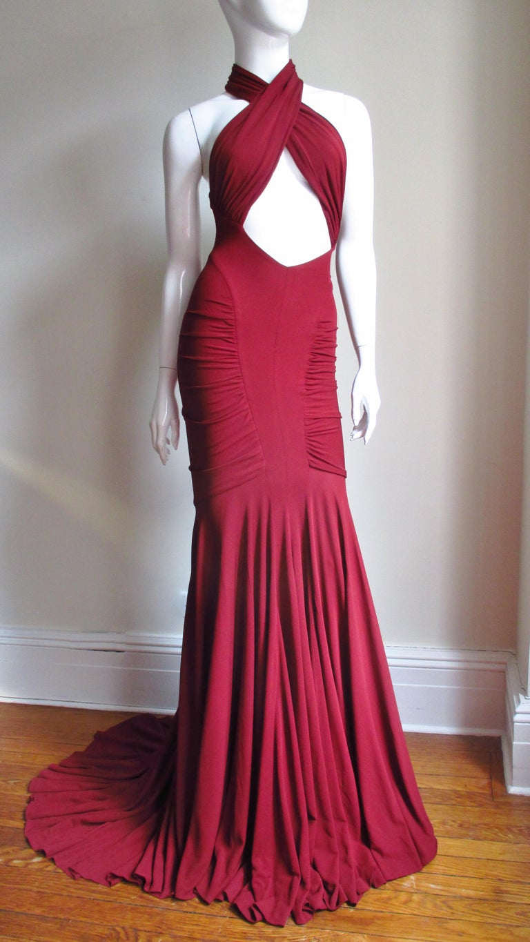 Herve Leger for Guy Laroche Bodycon Cut out Gown For Sale 2