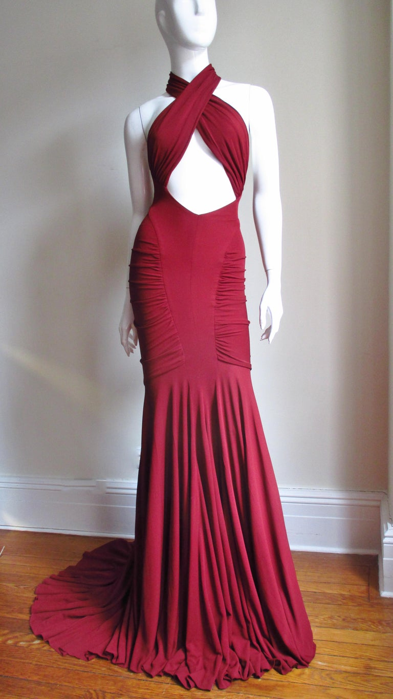 Herve Leger for Guy Laroche Bodycon Cut out Gown For Sale 3