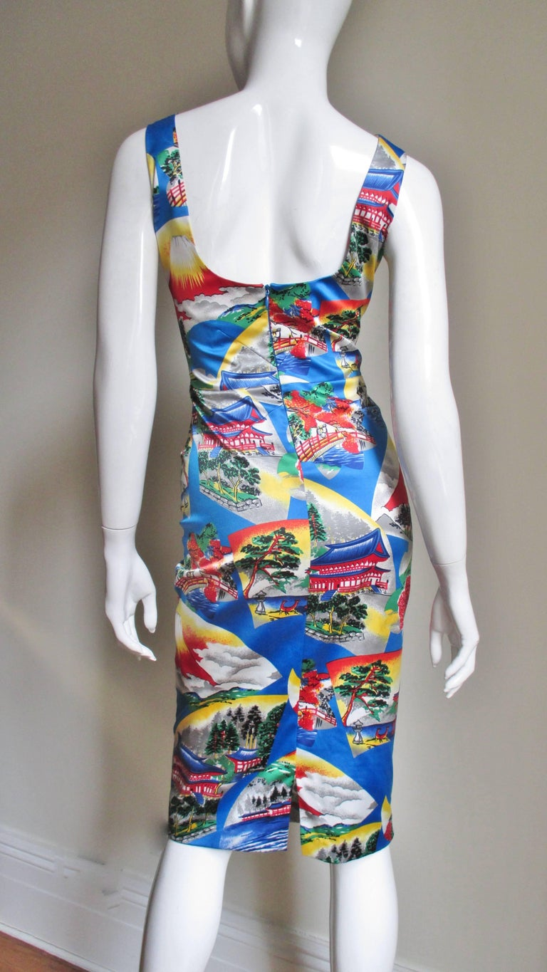 1990s Dolce and Gabbana Asian Scenes Bodycon Dress at 1stdibs