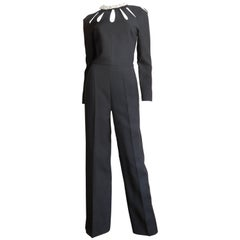 Valentino Silk Cutout Jumpsuit with Detachable Leather Flower Collar