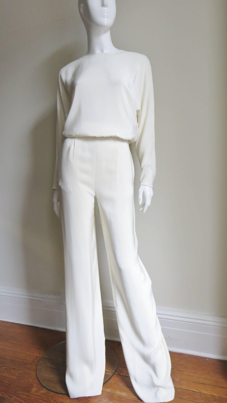 02a24c7e28b Valentino New Silk Slit Back Jumpsuit For Sale at 1stdibs