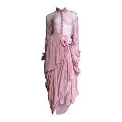 1990s Dolce & Gabbana Draped Silk Skirt and Shirt