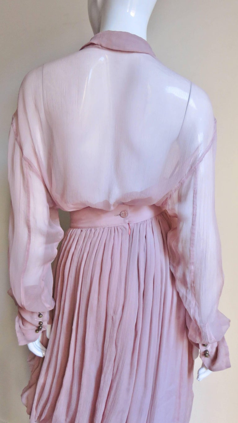1990s Dolce & Gabbana Draped Silk Skirt and Shirt For Sale 9