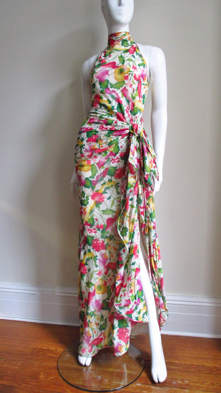 Valentino Boutique Silk Flower Gown For Sale 1
