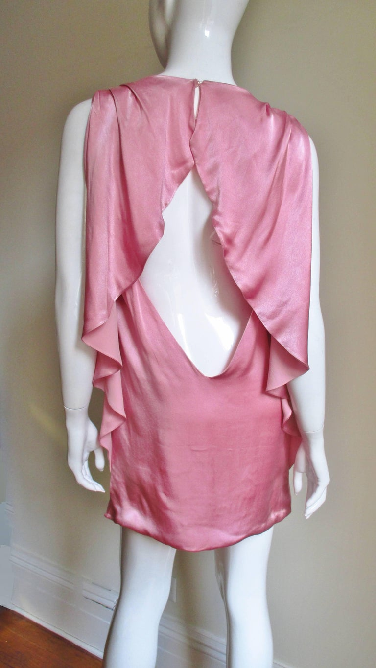 Versace Back Cut out Silk Dress For Sale 3
