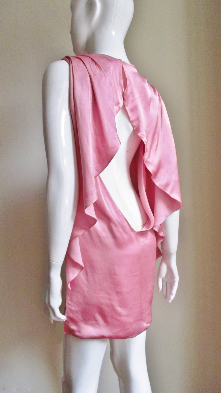 Versace Back Cut out Silk Dress For Sale 5