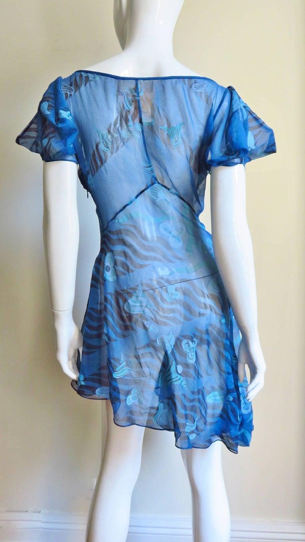 1990s Zandra Rhodes Asymmetric Silk  Dress For Sale 5