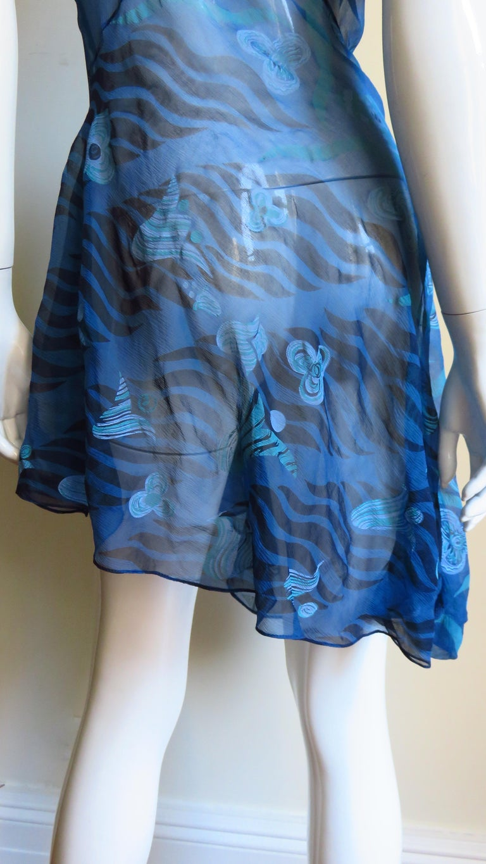 1990s Zandra Rhodes Asymmetric Silk  Dress For Sale 7