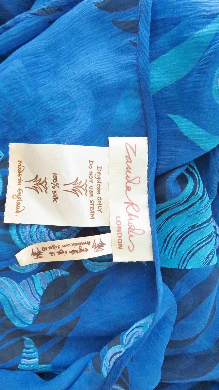 1990s Zandra Rhodes Asymmetric Silk  Dress For Sale 9