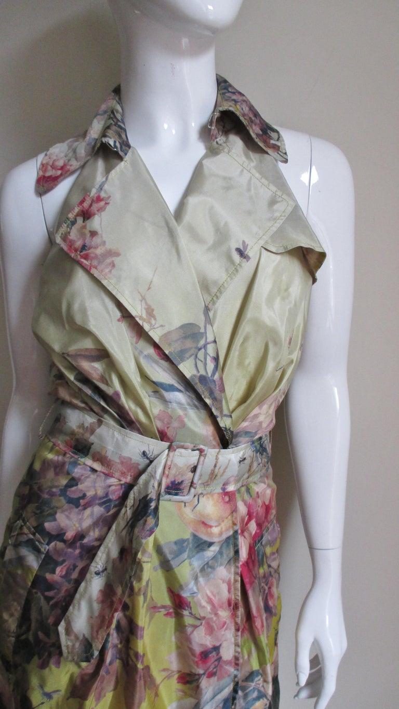 Brown Jean Paul Gaultier Silk Flower Wrap Dress For Sale