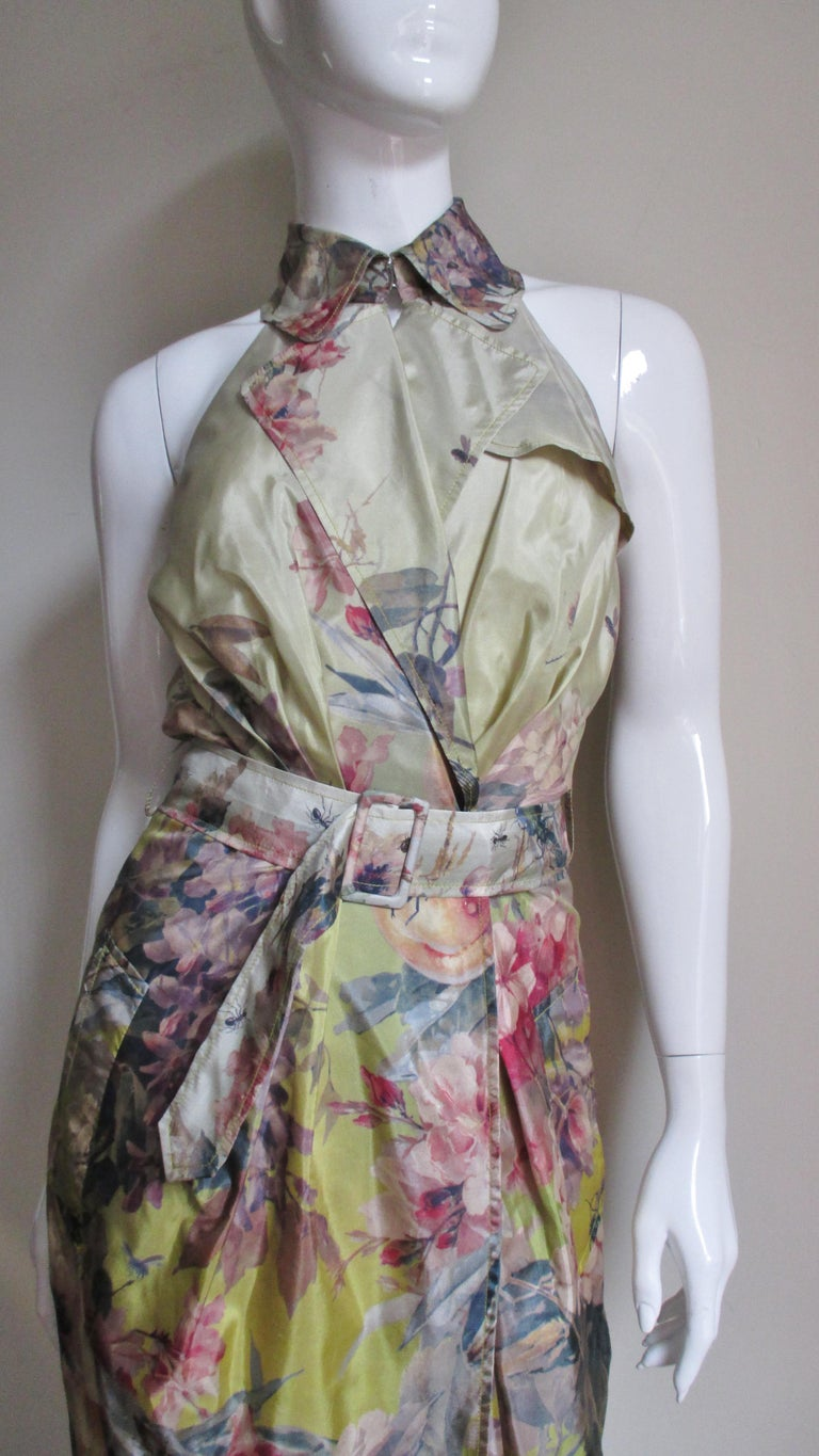 Jean Paul Gaultier Silk Flower Wrap Dress In Good Condition For Sale In New York, NY