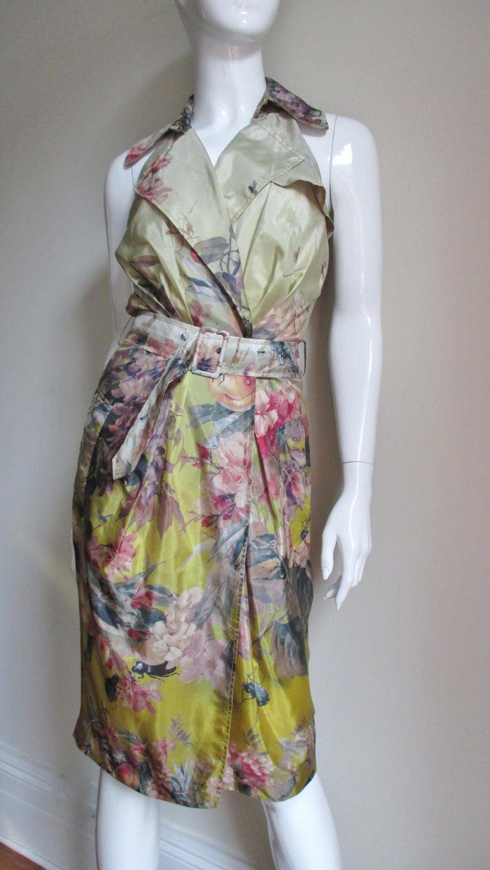 Jean Paul Gaultier Silk Flower Wrap Dress For Sale 3