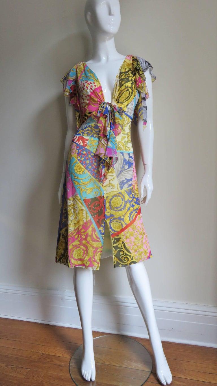 Gianni Versace Silk Print Plunge Dress For Sale 4