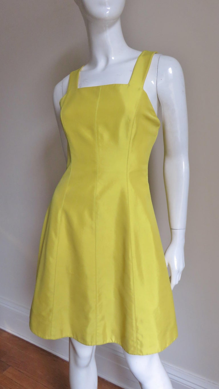 Yellow Claude Montana Sculptural Dress with Cutout Back  For Sale