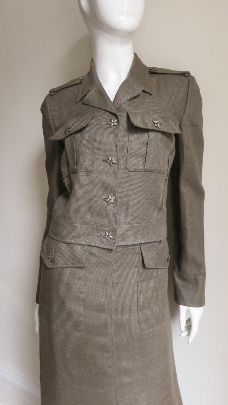 Women's Valentino Linen Jacket and Skirt For Sale