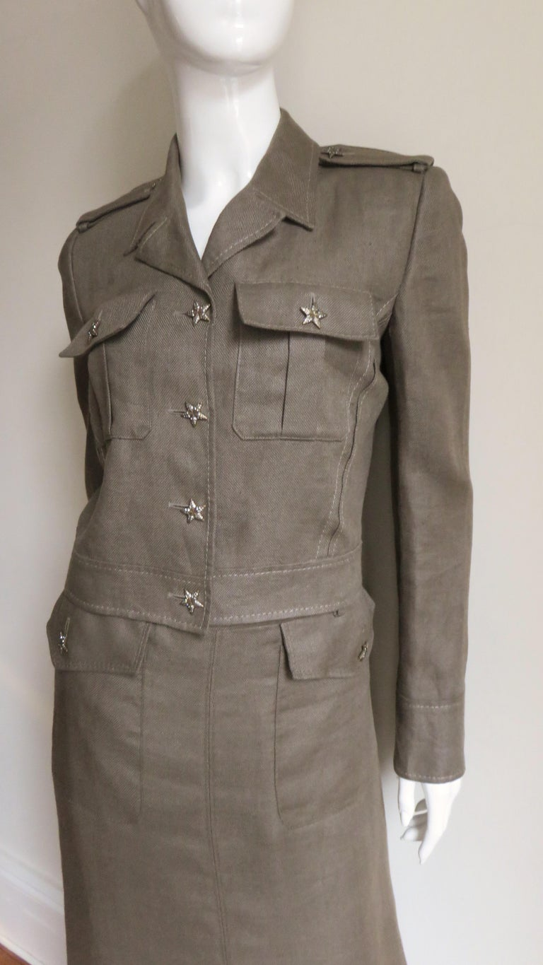 Gray Valentino Linen Jacket and Skirt For Sale