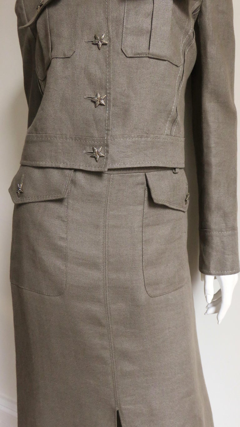 Valentino Linen Jacket and Skirt For Sale 3