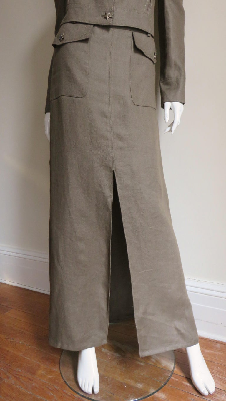 Valentino Linen Jacket and Skirt For Sale 4