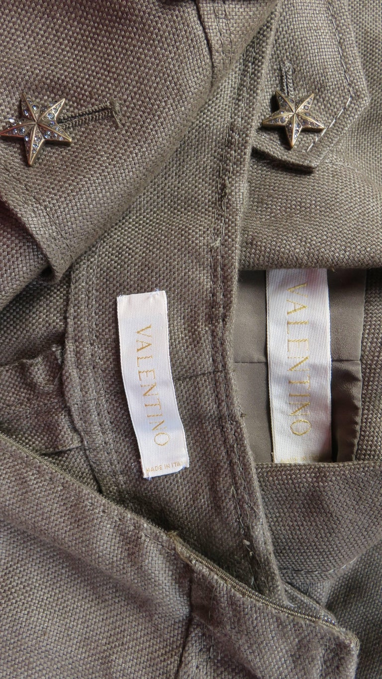 Valentino Linen Jacket and Skirt For Sale 10