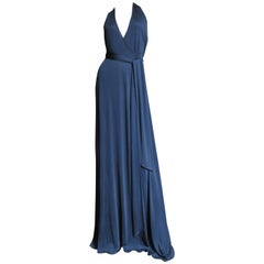 Gucci Wrap Plunging Halter Silk Dress