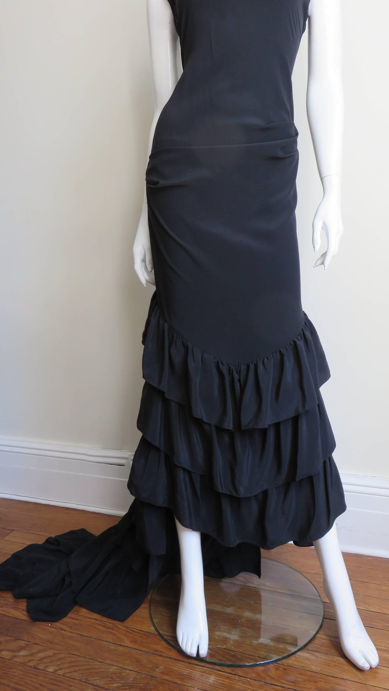 Women's 1990s Alexander McQueen Dress with Ruffle Train For Sale