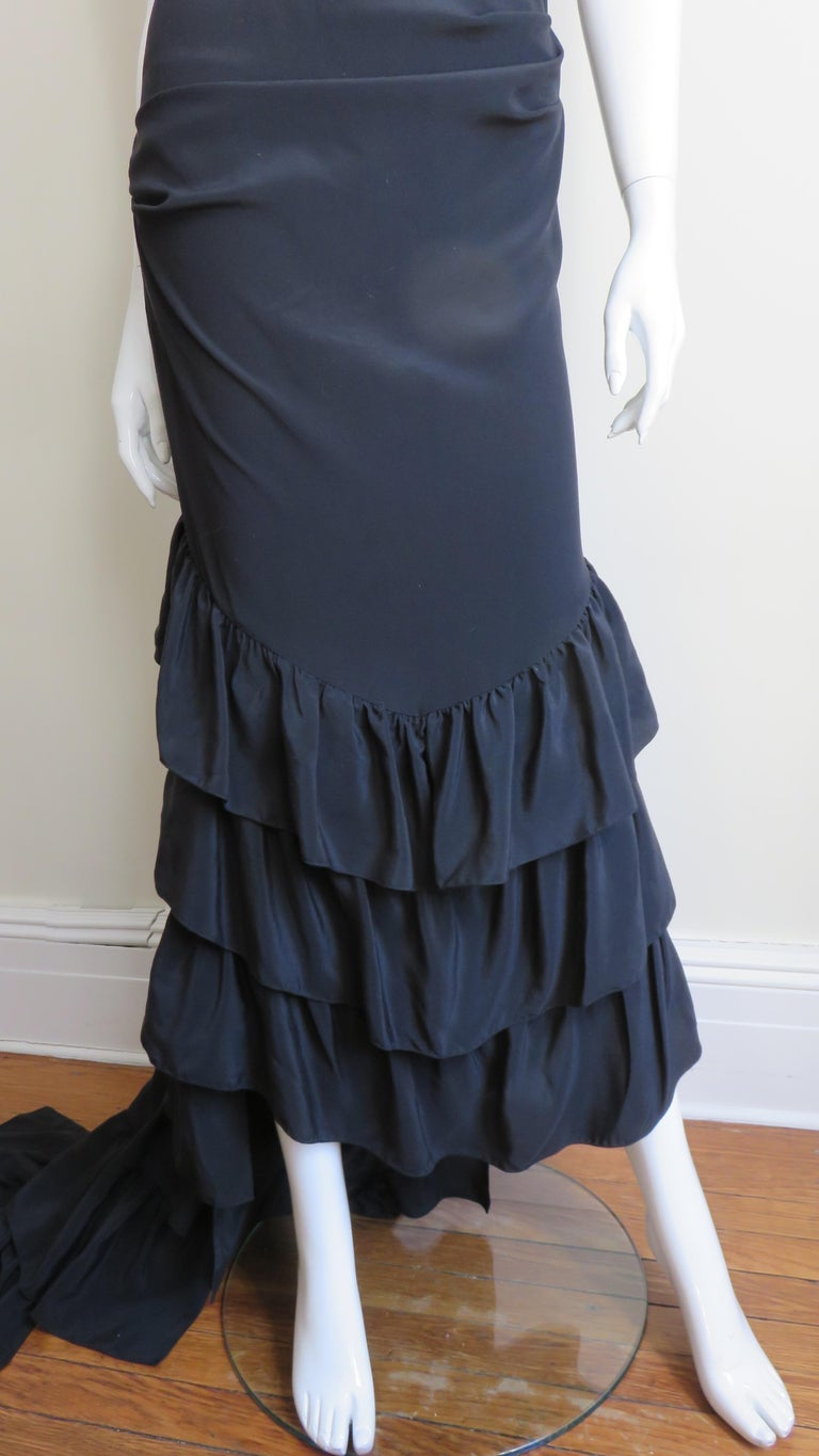 1990s Alexander McQueen Dress with Ruffle Train For Sale 1