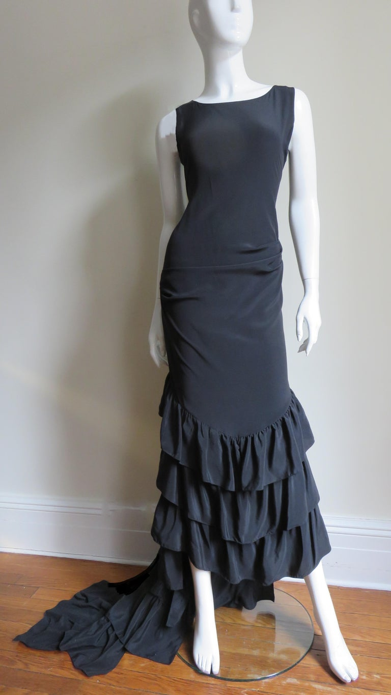 1990s Alexander McQueen Dress with Ruffle Train For Sale 2