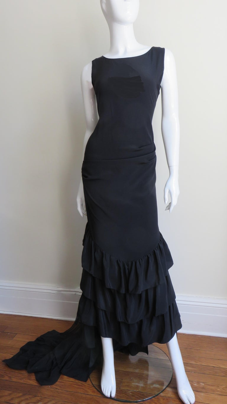 1990s Alexander McQueen Dress with Ruffle Train For Sale 3