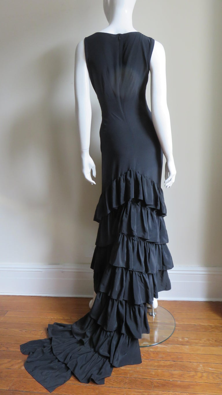 1990s Alexander McQueen Dress with Ruffle Train For Sale 4