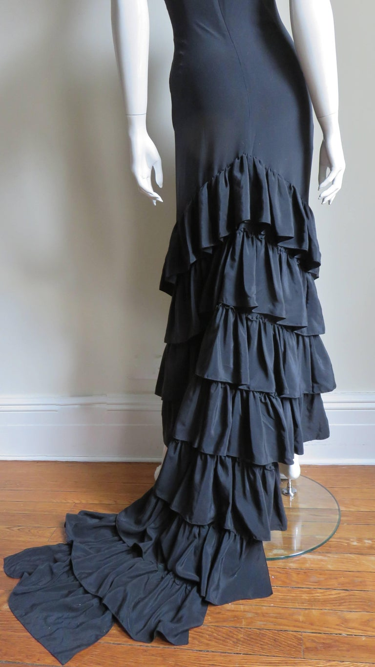 1990s Alexander McQueen Dress with Ruffle Train For Sale 6