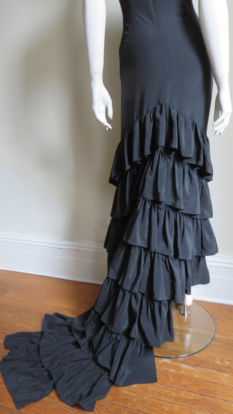 1990s Alexander McQueen Dress with Ruffle Train For Sale 7