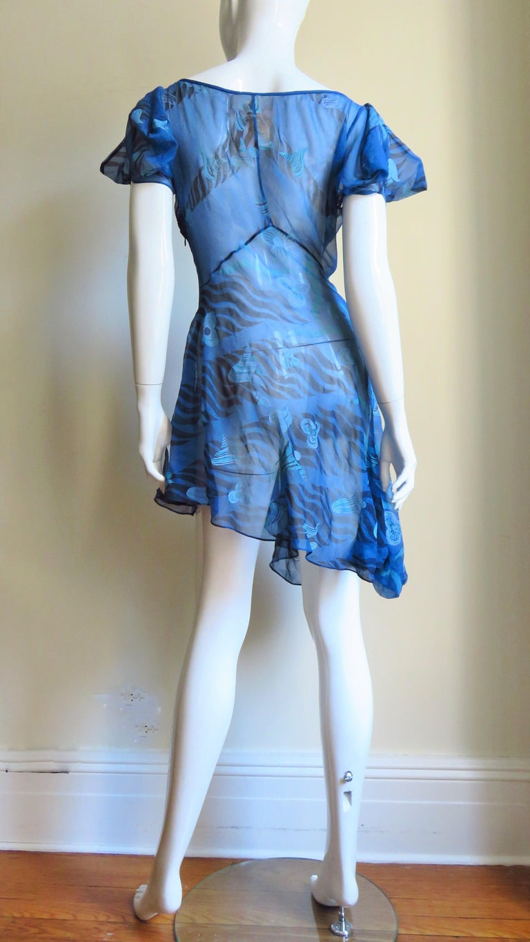 1990s Zandra Rhodes Asymmetric Silk Screen Print Dress For Sale 4