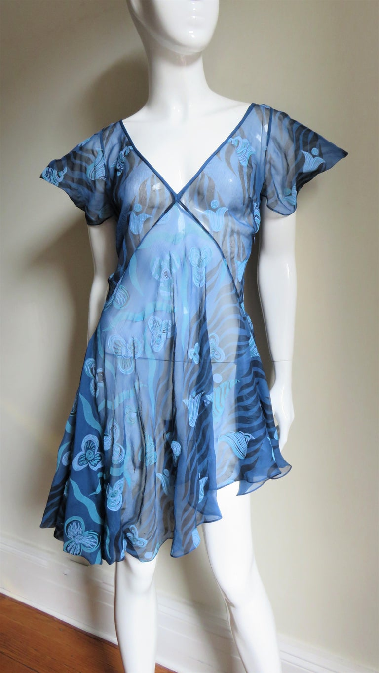 Blue 1990s Zandra Rhodes Asymmetric Silk Screen Print Dress For Sale