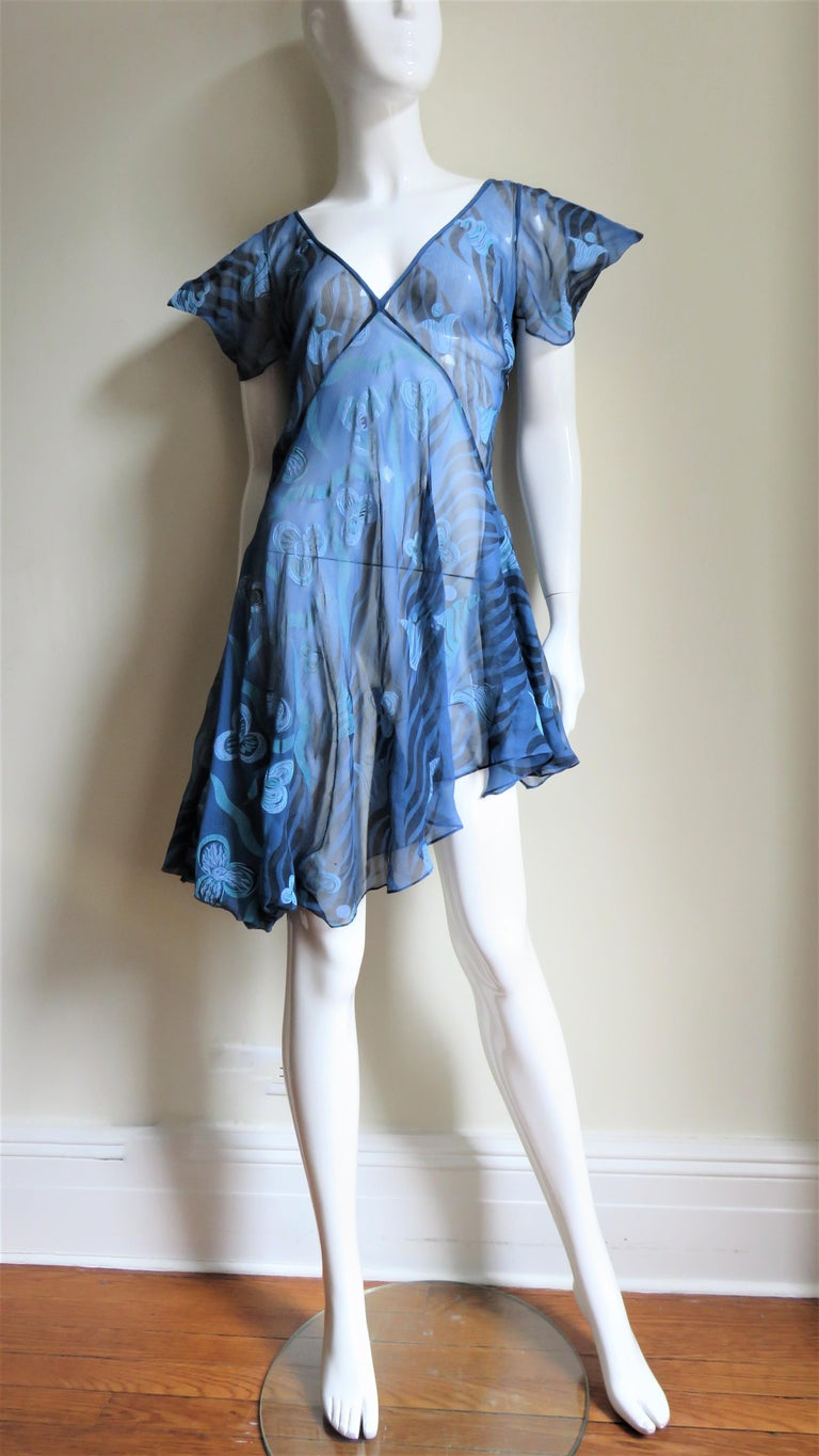 1990s Zandra Rhodes Asymmetric Silk Screen Print Dress For Sale 2
