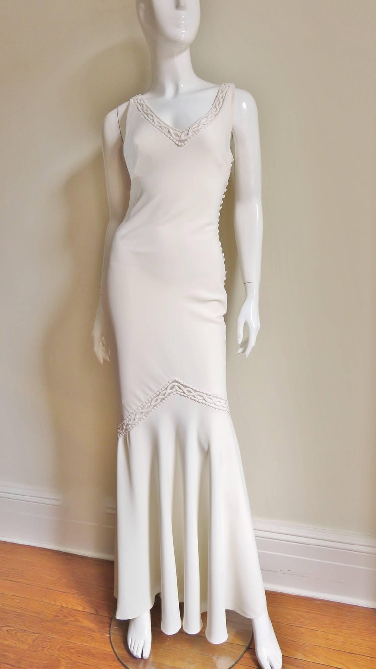 1990s Christian Dior Silk Gown With Intricate Detail For