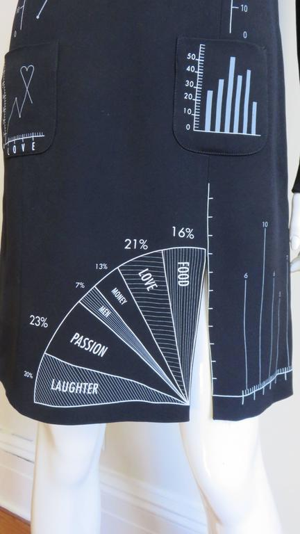 Women's Moschino Life Charts and Graphs Screen Print Dress For Sale